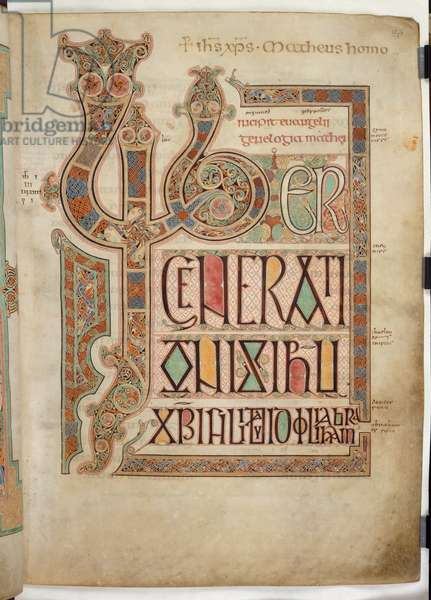 Cott Nero D IV f.27 Incipit page to the Gospel of St. Matthew with decorated letters 'LIB', from the Lindisfarne Gospels, 710-721 (vellum)