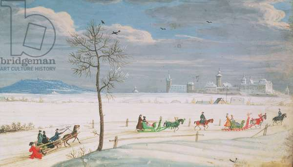 German Snowscape with sledges