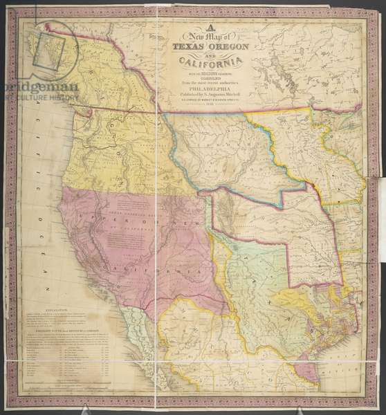 A New Map of Texas, Oregon and California, 1846 (coloured engraving)