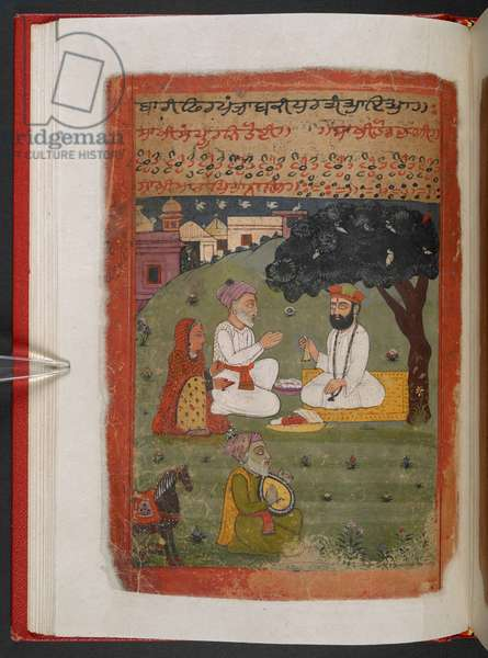 MS Panj B 40, f.28v, Guru Nanak with Mata Tripta and Mehta Kalu upon his returns from his 'udasi', illustration from the 'Biography of Guru Nanak', 1733 (vellum)