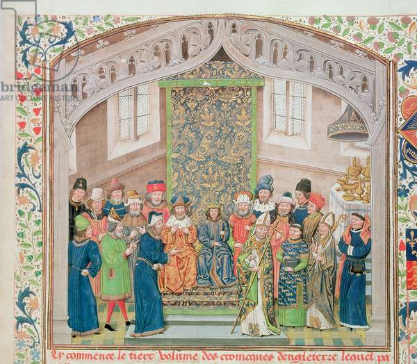 Roy 14 E IV f.10 Richard II holding court after his coronation, Vol III ` From the Coronation of Richard II to 1387', by Jean de Batard Wavrin