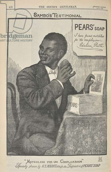 """Sambo's testament. """"Matchless for um complekshun"""". An advertisement for Pear's soap."""