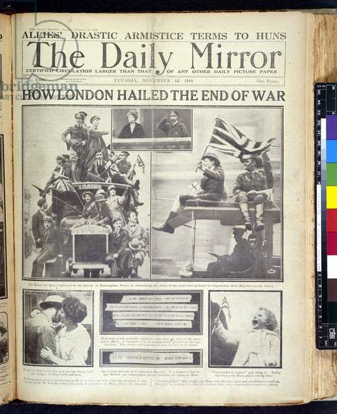 How London hailed the end of war, front page from 'The Daily Mirror' published 12th November, 1918 (litho)