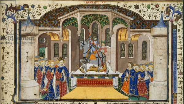 Royal 15 E. VI, f.439 King Henry VI and knights grouped round an altar, which is surmounted by St. George and the dragon, from the 'Shrewsbury Talbot Book of Romances', Rouen, c.1445 (ink, colour & gold on vellum)