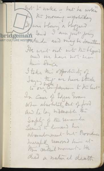 """Add MS 51035, f.32r, """"I am just going outside and may be some time"""", Oates removes himself from the party to die, Captain Scott's Diaries, Vol III, 1912 (pencil on paper)"""