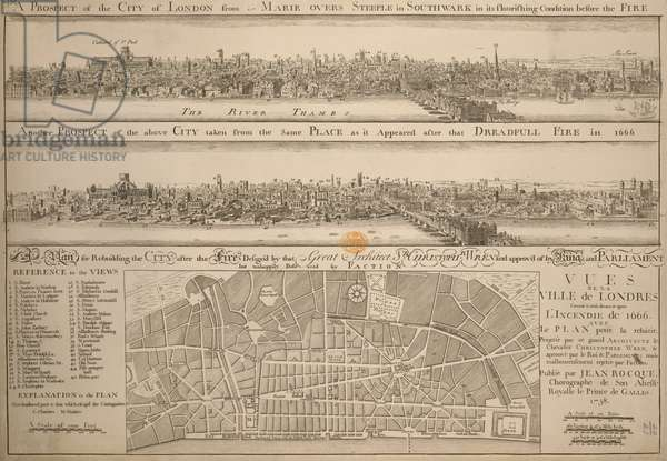 A plan below two etched views after Hollar: 'A Prospect of the City of London from St. Marie Overs Steeple in Southwark in its flourishing condition before the Fire' and 'Another Prospect of the above City taken from the same Place as it Appeared after that Dreadful Fire in 1666'