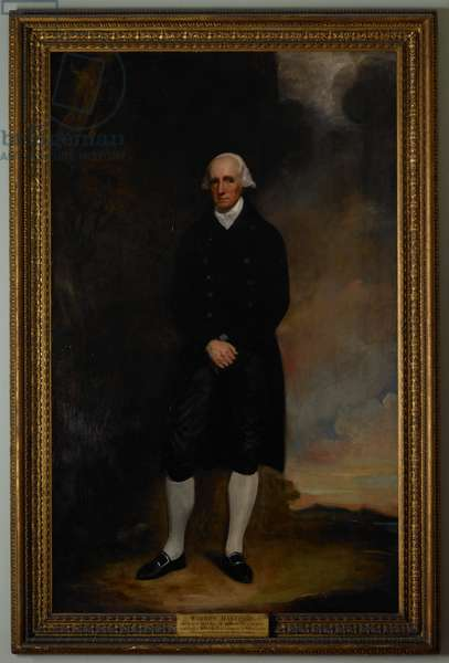 Warren Hastings (1732-1818), Governor-General of Fort William, Bengal, 1774-85. Served in India 1750-85. Governor-General of Fort William, Bengal, 1774-85. A full-length, life-size portrait. The costume is plain, consisting of a white cravat, dark double-breasted coat with gold buttons, black silk breeches, white stockings, and shoes with gold buckles.
