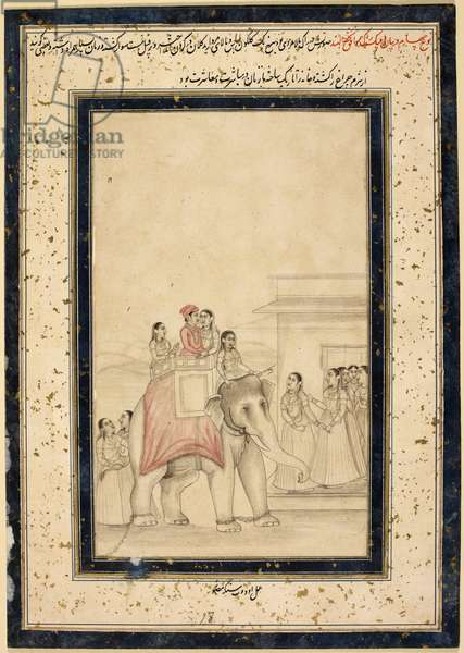Dipaka ragini. A lord and lady seated arm in arm in the howdah of an elephant with female mahout, arrive at a building to be greeted by ladies
