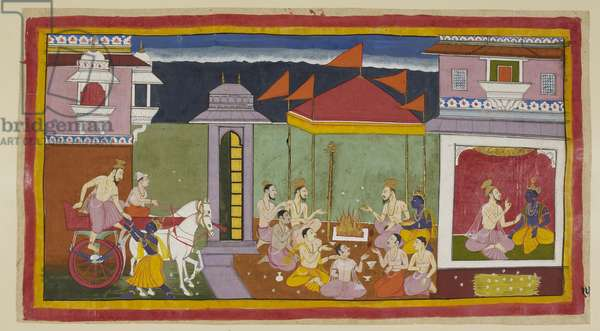 Add 15296 (1) f.15r, On the left, Vasistha arrives at Rama's palace and with Rama's help alights from his chariot, and on the right, seated with Rama, advises him to observe a fast that night as instructed by the king. A pile of kusa grass for Rama and Sita to sleep on is outside the chamber. In the centre under a canopy, Rama together with other Brahmins offer ghee to the sacred fire.