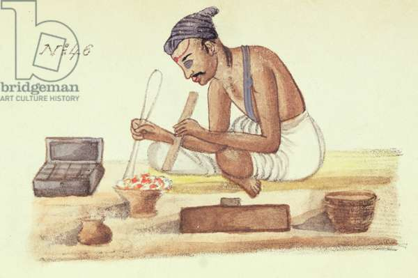 Goldsmith, from 'A Digest of the different Castes of India', by Venkata Ramasvani, published Madras 1837 (colour litho)