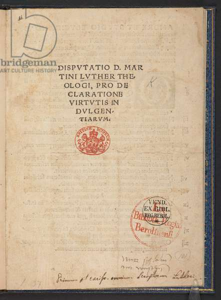 Frontispiece from 'Disputatio D. Martini Luther Theologi, pro declaratione virtutis indulgentiarum', first edition of Martin Luther's 95 Theses, Wittenberg, 1517 (print)