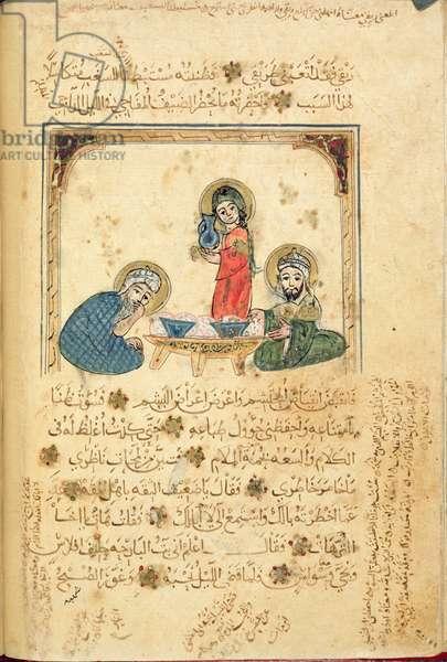 Ms Or 1200 f.40v, illustration from 'The Maqamat of al-Kasim', by B. Ali al Hariri (gouache on paper)