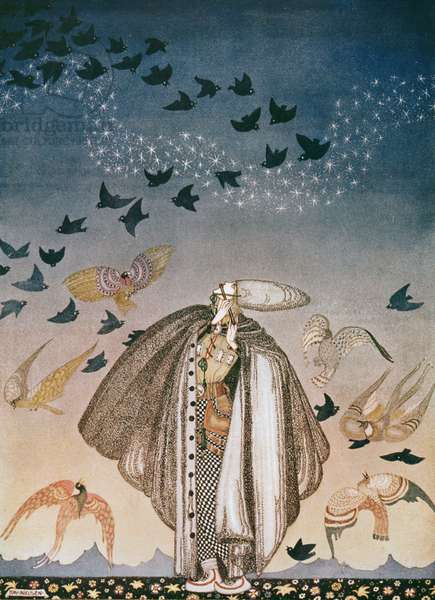 """""""No sooner had he whistled"""", illustration to 'The Princess in the Blue Mountains' from 'East of the Sun and West of the Moon', Old Tales of the North"""