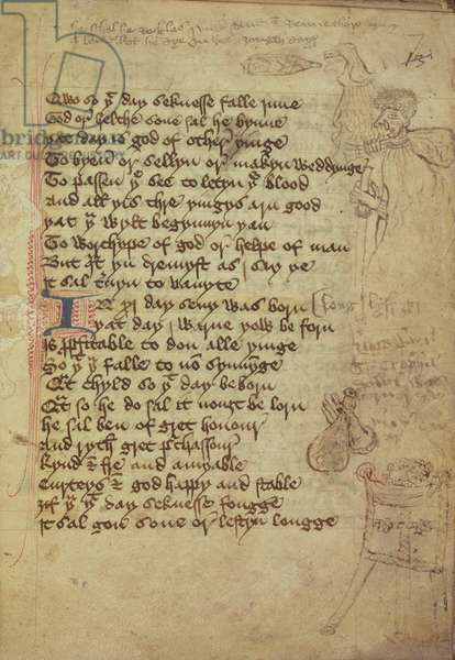 Ms. Harley 1735 fol.7r Page from a physician's notebook written in Middle English (vellum)