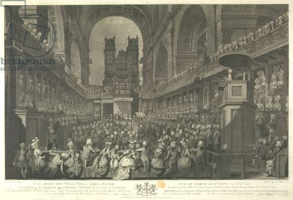 A view in St. Paul's Cathedral looking towards the organ, a large congregation assembled in the presence of HM King George III at service of thanksgiving for his recovery, seated in a box with members of the royal family in the centre. The Bishop of London in pulpit in the right foreground, his hand raised as if to silence the chatting crowds