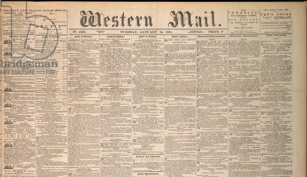 Front Page of the Western Mail newspaper. Newspaper for Wales. Dated 16th January 1883.