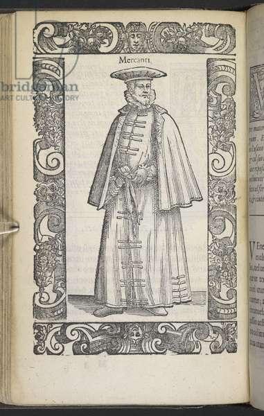 The costume of a Venetian merchant, 1598 (engraving)
