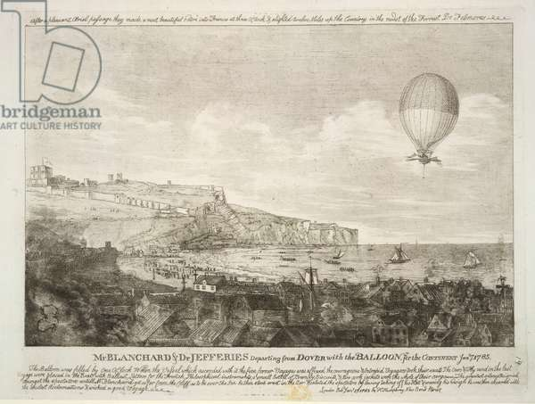 Mr Blanchard & Dr Jefferies departing from Dover. The first airbourne english channel crossing, on January 7th, 1785.