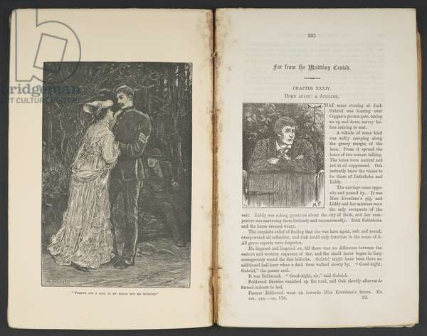 Far From the Madding Crowd by Thomas Hardy, opening of the August 1874 issue of The Cornhill Magazine (engraving)