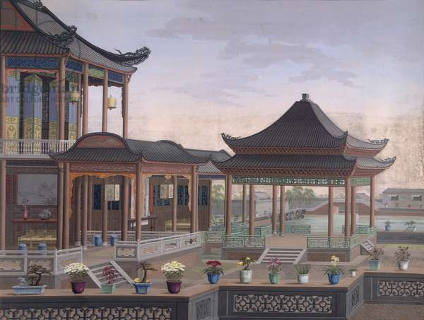 House of a Chinese Official, c.1800-05 (opaque w/c on paper)