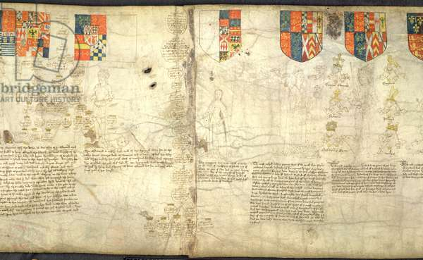 Rous Roll, f. 7cr: Left to right: Edward, Earl of Warwick (son of George, Duke of Clarence); Margaret (daughter of George, Duke of Clarence); Anne Neville (daughter of Richard Neville and wife of Richard III); Richard III (vellum)