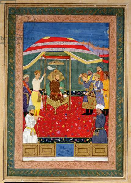 The Mughal Emperor Babur (1526-30) sitting on a throne receiving a prince, Johnson Album I, no.3 numbered 65, 1650-80 (gouache with gold on album page)