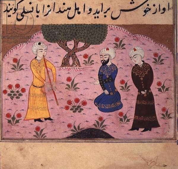 Playing a reed pipe, from 'Miftah al-Fuzala' by Muhammad ibn Da'ud Shadiyabadi (vellum)