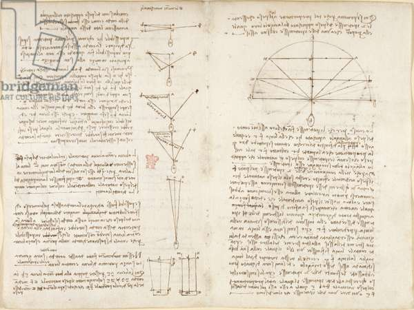Arundel 263, f.6v, f.9 Notes and diagrams on mechanics, entitled 'Elementi machinali', from 'Codex Arundel', 1508 (pen & ink on paper)