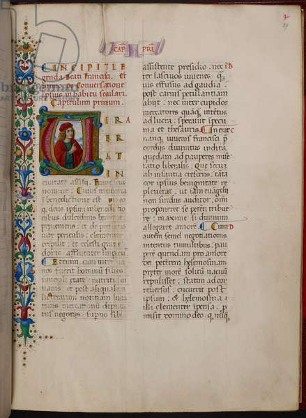 Historiated initial 'V'(ira) of Francis before his conversion