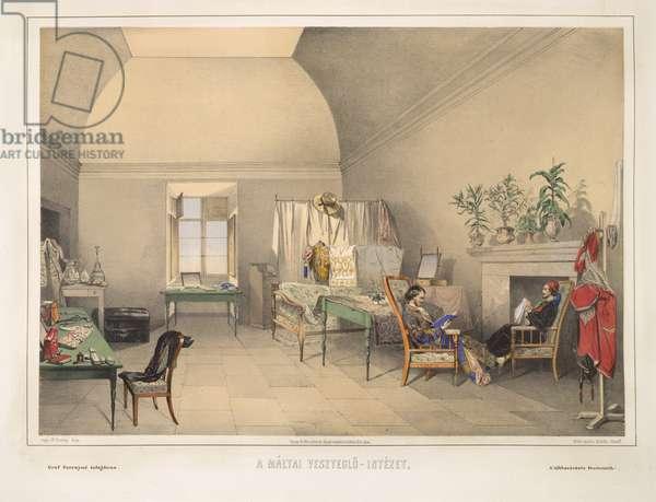 The quarantine house in Malta, 1857 (colour litho)