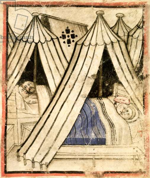 Add 15277 f.51 The Israelites indulge in sexual immorality with the Moabite women in their tents, c.1350-99 (vellum)