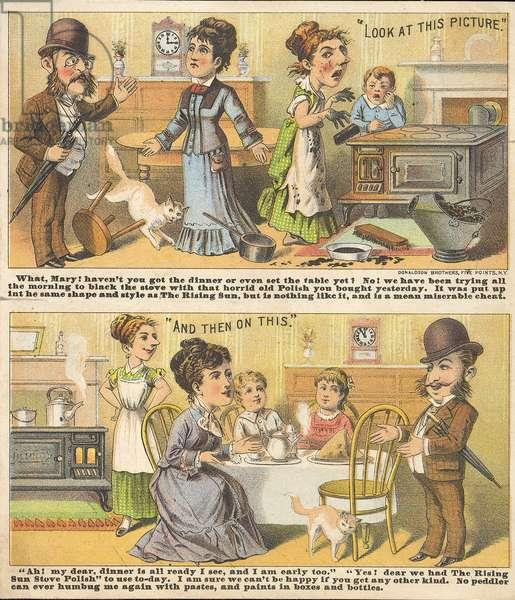 Advert for Rising Sun, stove polish, 1887 (colour litho)