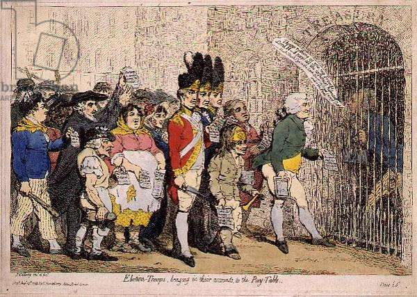 Election Troops bringing in their accounts to the Pay Table (satirical cartoon). Published by H. Humphrey, 1788