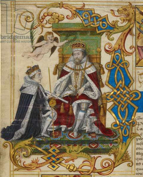 James I. creating his son Henry Prince of Wales and Earl of Chester; witnessed by Charles, Duke of York, and many other peers