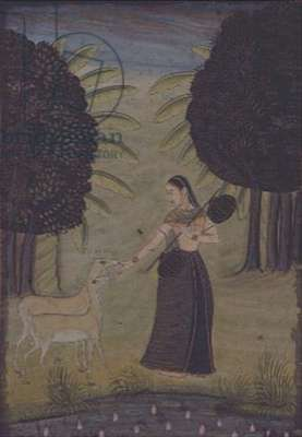 'Todi Ragini': A lady with a vina, item no.8 of i - viii, from a Johnson Album no.30, Lucknow, Provincial Mughal, c.1780, (gouache and gold on paper)