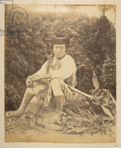 Portrait of a man (Lepcha?) superimposed over a view of Victoria Fall, Darjeeling. Photographer: Phillips, Robert Views of Darjeeling1870's