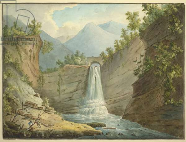 A large waterfall with a bridge above; steep rock face on either side; figures moving branches in the lower left-hand corner; mountains in the distance