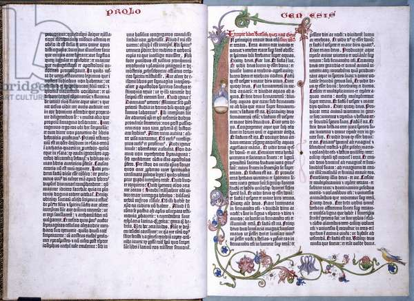 End of St.Jerome's Prologue and beginning of the Book of Genesis, in the Gutenberg Bible.