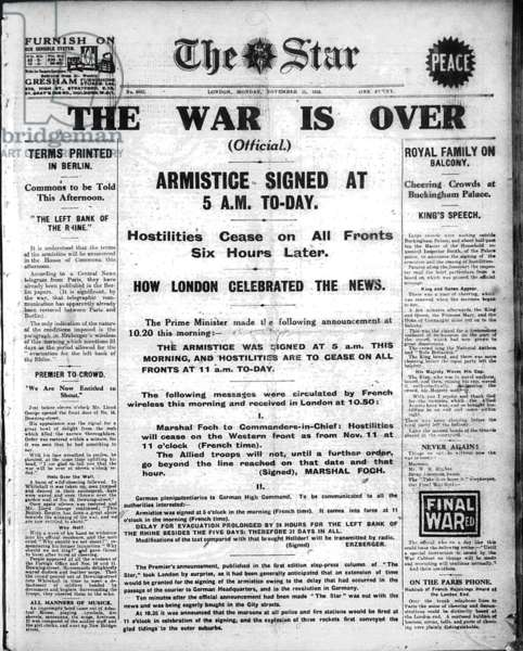 'The War is Over', front page of 'The Star', Monday 11th November 1918 (newsprint)