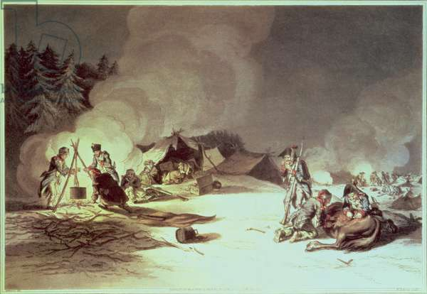 The Miseries of the French Grand Army in their Retreat from Moscow, bivouacking, 1812, print, Pub. Edward Orme, London