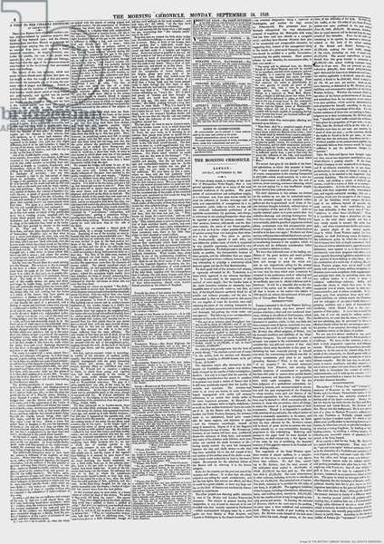 Henry Mayhew article on Cholera in 'The Morning Chronicle', 24th September 1849 (newsprint)