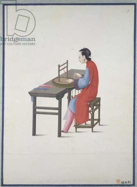 A woman threading silk, c.1800 (w/c on paper