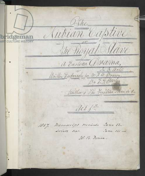 Title page of 'The Nubian Captive' by E.G. Burton, 14th Jun 1857 (pen & ink on paper)