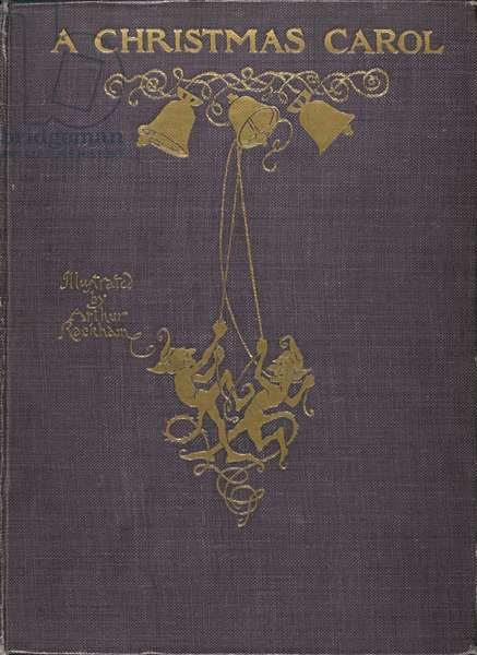 Front cover with an illustration of two elves ringing bells embossed in gold.