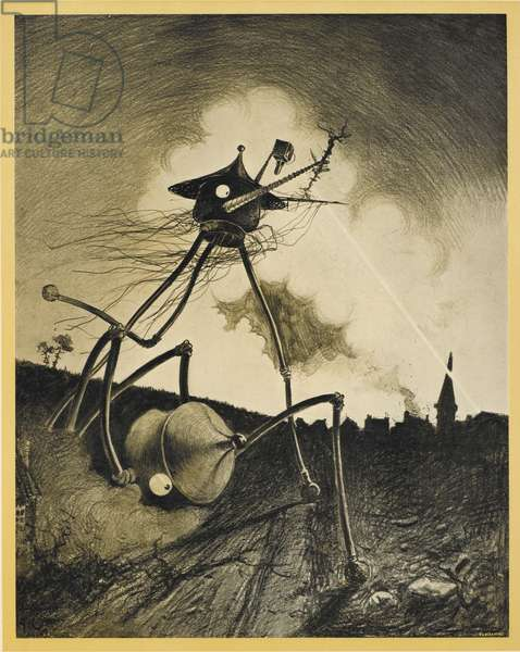 Two martian tripods being fired upon. Illustration from 'war of the worlds'.