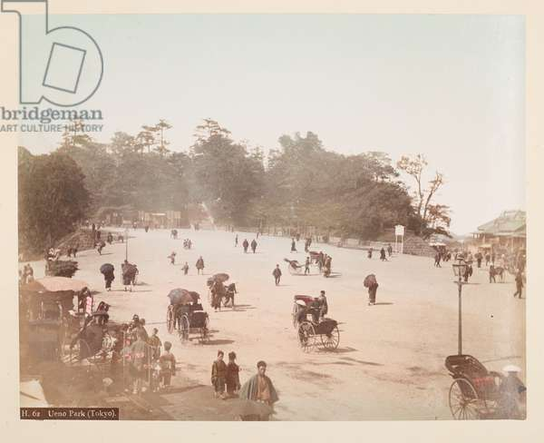 Ueno Park, Tokyo, from A Book of Coloured Photographs of views in Japan, 1895 (coloured photo)