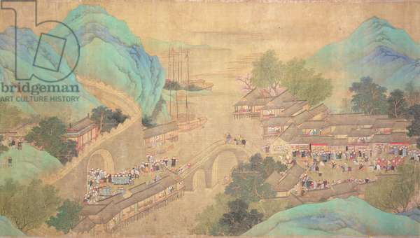 Emperor Kang Shi's tour of Kiang-Han in 1699, after Chaio Ping Chen (1661-1722) (ink and colour on silk backed paper)