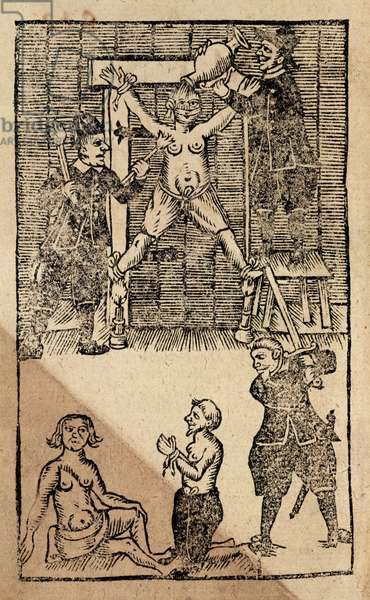 Eg 1475 f.1 Dutch Settlers at Amboyna torture an English merchant prior to the massacre of 1623 that put an end to British trading in the East Indies (woodcut)