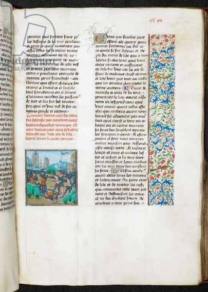 Royal 17 f.II, f.219r Miniature of a battle in Libya, from 'La grant hystoire Cesar, i.e. Les faits des Romains', 1479 (vellum)