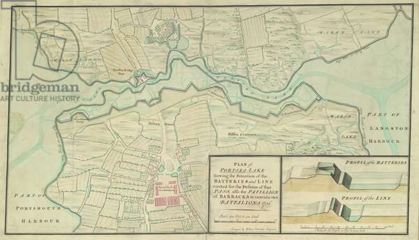 A plan of Portsea Lake, Hampshire, 1756 (pen & ink with w/c on paper)